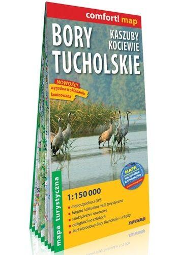 Okładka książki Bory Tucholskie, Kaszuby, Kociewie; laminowana mapa turystyczna 1:150 000 praca zbiorowa