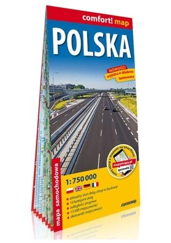Okładka książki Polska; laminowana mapa samochodowa 1:750 000 praca zbiorowa
