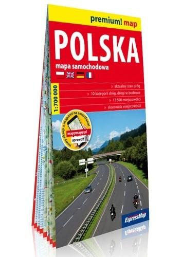 Okładka książki Polska; mapa samochodowa w kartonowej oprawie 1:700 000 praca zbiorowa