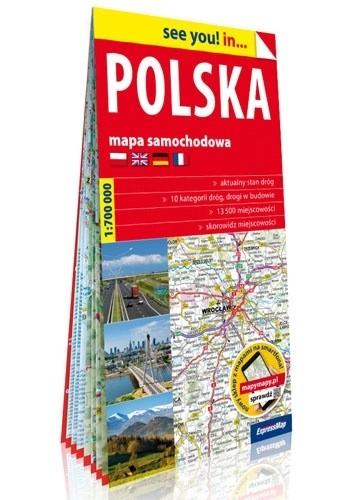 Okładka książki Polska; papierowa mapa samochodowa 1:700 000 praca zbiorowa