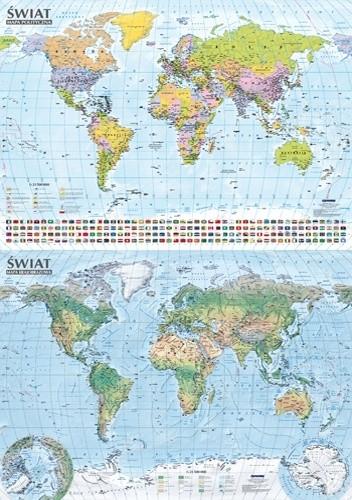 Okładka książki Świat. Mapa polityczna i krajobrazowa, format B0, mapa ścienna praca zbiorowa