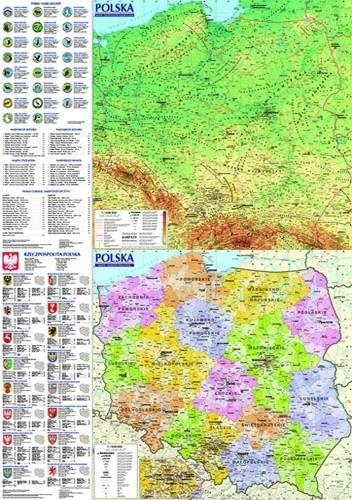 Okładka książki Polska. Mapa ogólnogeograficzna i administracyjno-samochodowa praca zbiorowa
