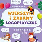Okładka książki WIERSZYKI I ZABAWY LOGOPEDYCZNE z pingwinkiem Piko