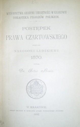 Okładka książki Postępek prawa czartowskiego przeciw narodowi ludzkiemu autor nieznany