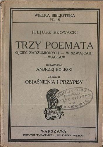Okładka książki Trzy poemata Juliusz Słowacki